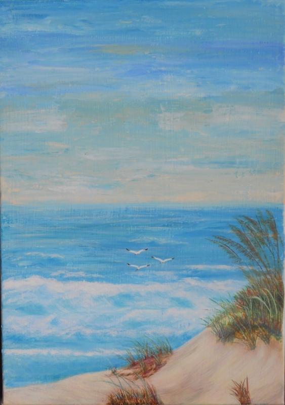 TABLEAU PEINTURE mer dune océan bleu - Lacanau