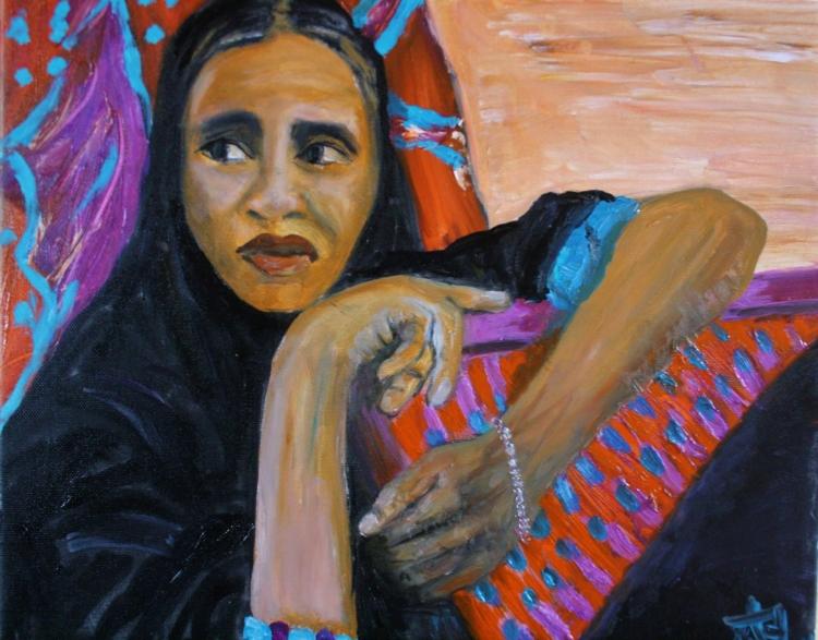 TABLEAU PEINTURE - femme au voile noir