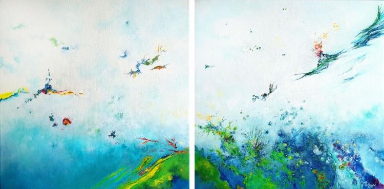 TABLEAU PEINTURE abstrait lyrique expressionnisme abst marine vague - Le bruit blanc des courants d'air