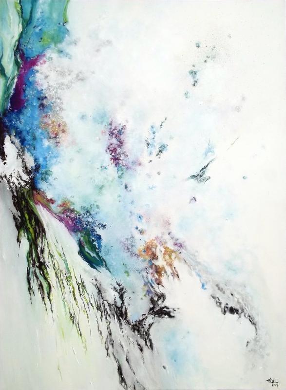 TABLEAU PEINTURE expressionisme abstr cascade waterfall white - L'écume des silences