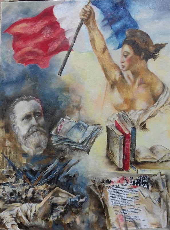 TABLEAU PEINTURE republique Jaurès drapeau commune - sans nom