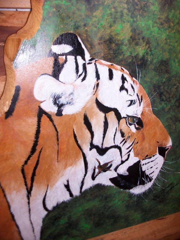 ARTISANAT D'ART tigre peint peinture animalière félins peints artisanat peinture - Beau Tigre!