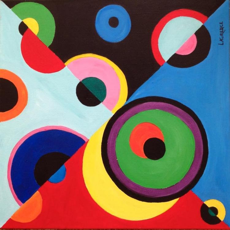 """TABLEAU PEINTURE rond cercle abstrait couleur - ÉCLIPTIQUE """"série Sphérique """" (2019)"""