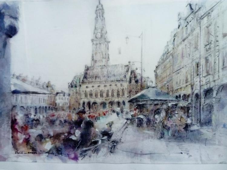 DESSIN Arras Place des héros - Sketch in Arras