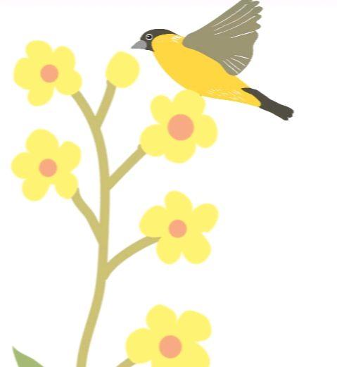 TABLEAU PEINTURE Fleurs Oiseau - Yellow