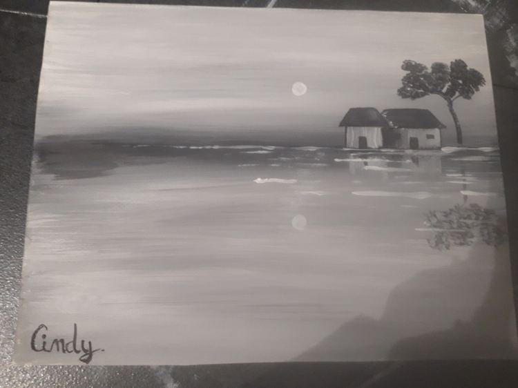 TABLEAU PEINTURE Maison Mer Nuit Hiver - Pavillon d'hiver