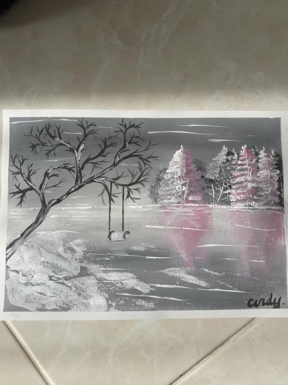 TABLEAU PEINTURE Mer Sapin Balançoire Zen - Plaisir d'hiver