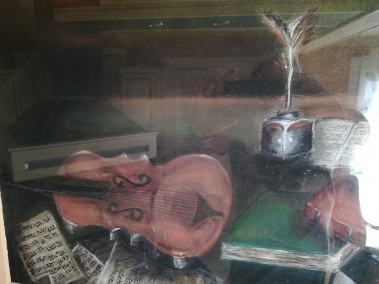 TABLEAU PEINTURE violon nature morte encadré figuratif - PASTEL   VIOLON