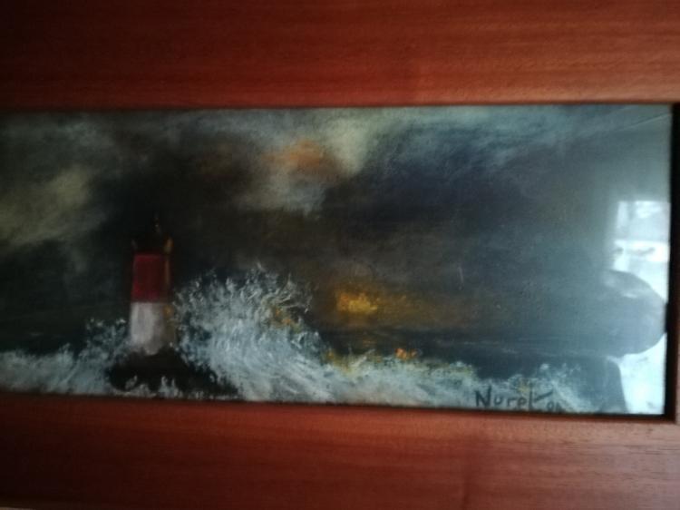 TABLEAU PEINTURE phare rouge et blanc pastel mer encadré figuratif - PASTEL PHARE ROUGE ET BLANC