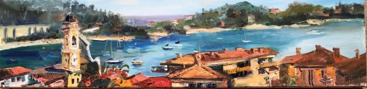 TABLEAU PEINTURE Huile Marine Impressionnisme Peinture - Vue sur Villefranche-sue-Mer