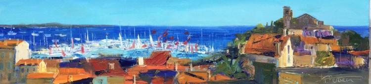 TABLEAU PEINTURE Huile Marine Côte d'Azur Impressionnisme - Paradis