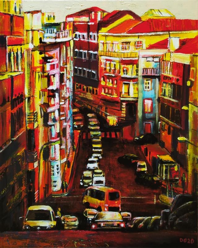 TABLEAU PEINTURE Portugal ville voiture immeuble - Lisbonne (n°2)