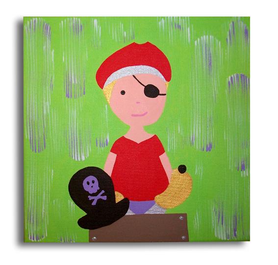 TABLEAU PEINTURE Tableau Pirate Enfant Vert   Tableau Pirate Vert Mauve  Rouge Décoration Chambre Bébé Enfant