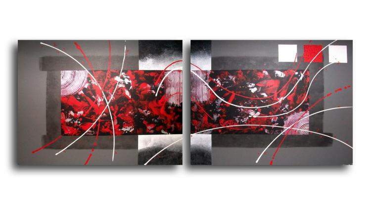 Tableau Peinture Art design rouge gris noir Abstrait ...