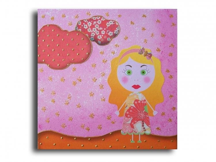 Tableau Peinture Art tableau rose fille moderne Personnages ...