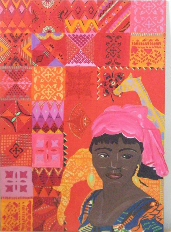 TABLEAU PEINTURE Motifs d'Afriqu portrait d'une jeu de motifs peints couleurs vives - motifs d'Afrique