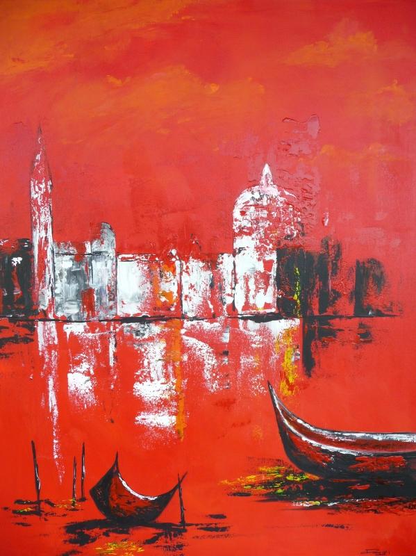 TABLEAU PEINTURE bateau mer ville venise - Venise