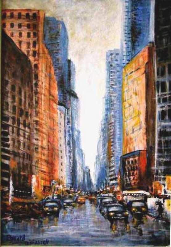 TABLEAU PEINTURE new york ville traffic - ny trafic
