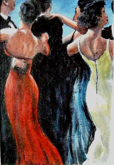 TABLEAU PEINTURE danseurs soirée slow belles fesses - soirée danse