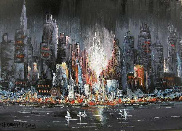 TABLEAU PEINTURE VILLE PASSANTS NEW YORK NUIT RIVERS - NEWYORK
