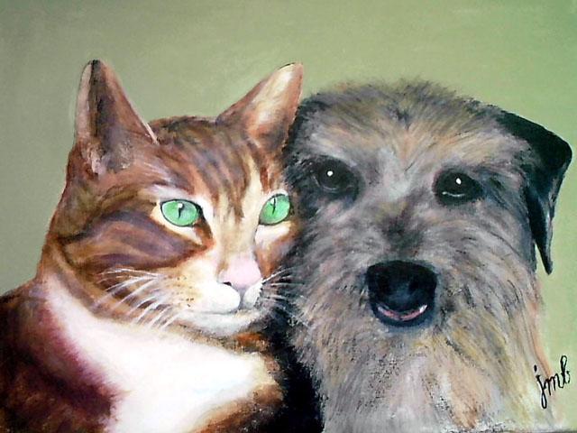 TABLEAU PEINTURE - chat et chien