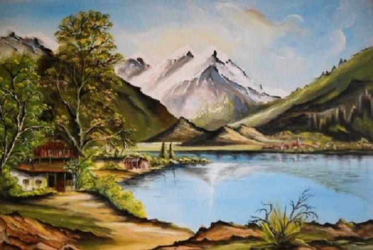 Tableau Peinture Art montagne lac Paysages
