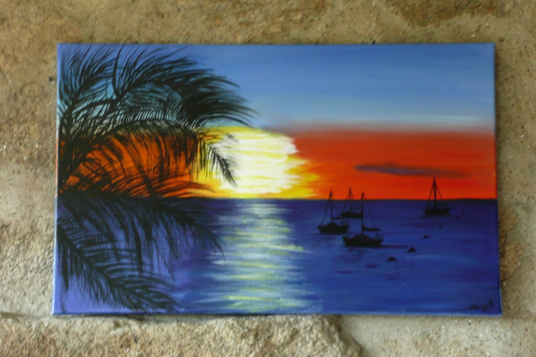 Tableau Peinture Art Bateaux Soleil Palmiers Mer Marine Peinture A L