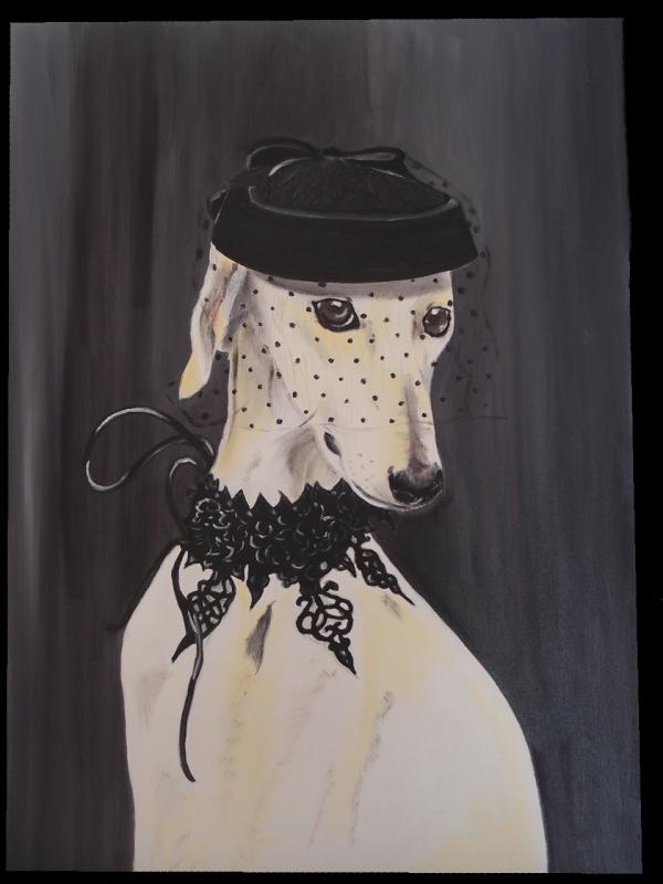 TABLEAU PEINTURE levrier dentelle chapeau élégance - Minnie