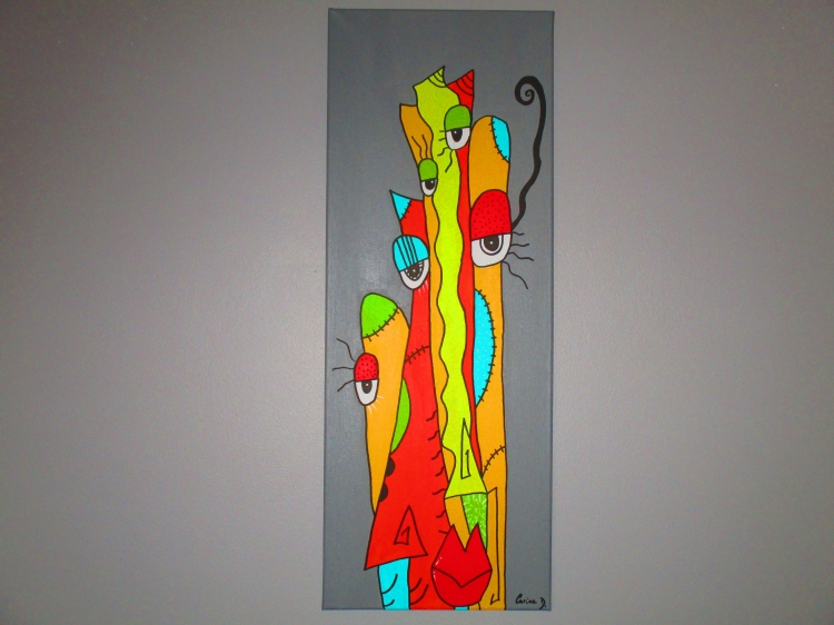 Frais Tableau Peinture Art abstrait moderne contemporain personnage  DY87