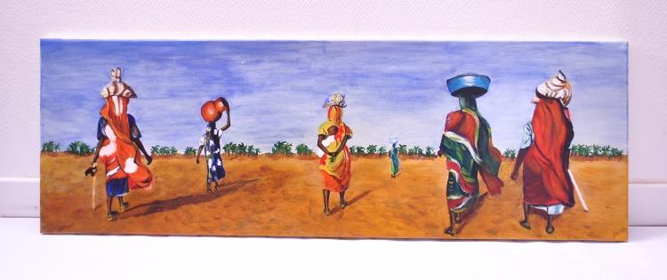 TABLEAU PEINTURE AFRIQUE FEMME PAYSAGE ACRYLIQUE - Femmes africaines