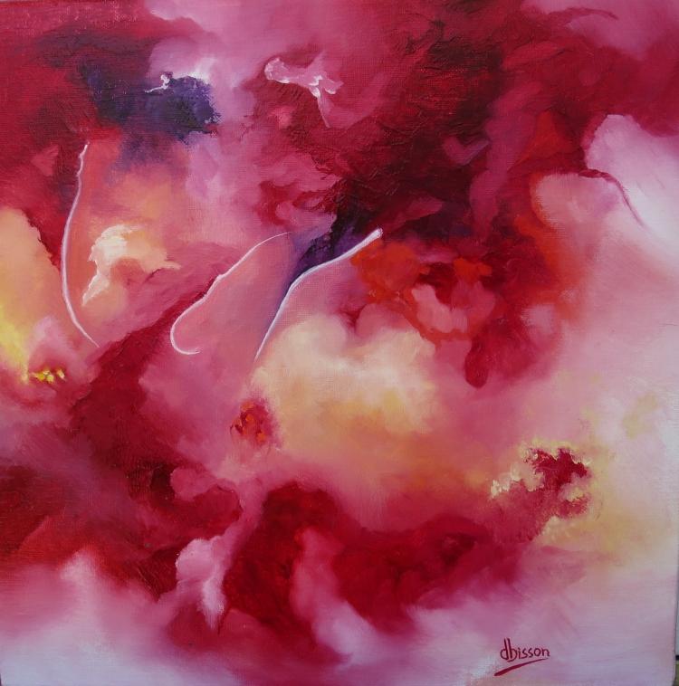TABLEAU PEINTURE bleu violet rouge jaune blanc - 65    je ne suis pas abstraite mais symphonique