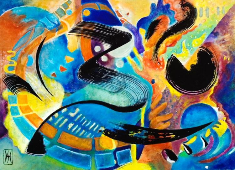 TABLEAU PEINTURE peinture à l'hu encre de Chine sur métal musique jazz - big noise