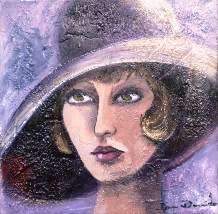 Tableau Peinture Art femme rétro portrait