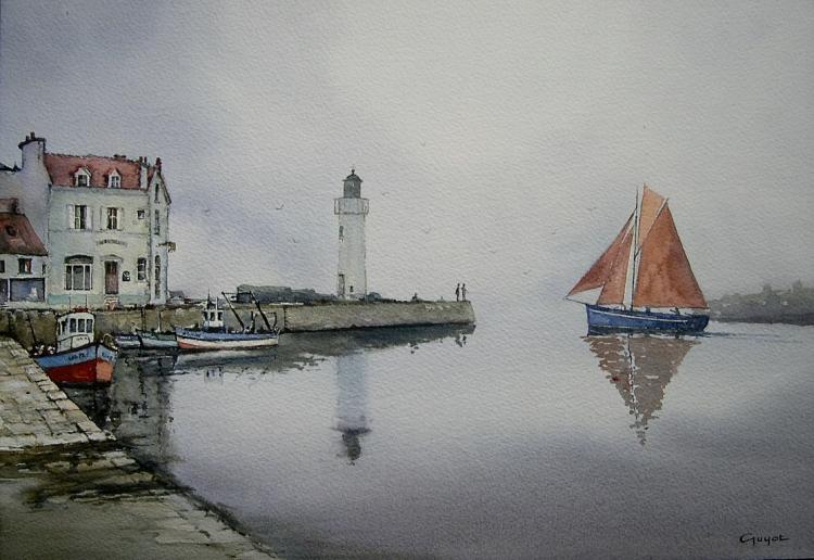 Aquarelle Bretagne tableau peinture art voilier port brume bretagne marine aquarelle