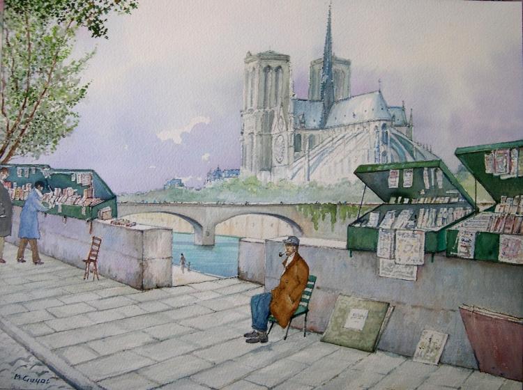 TABLEAU PEINTURE Paris Ile de la Cité Seine - Les bouquinistes