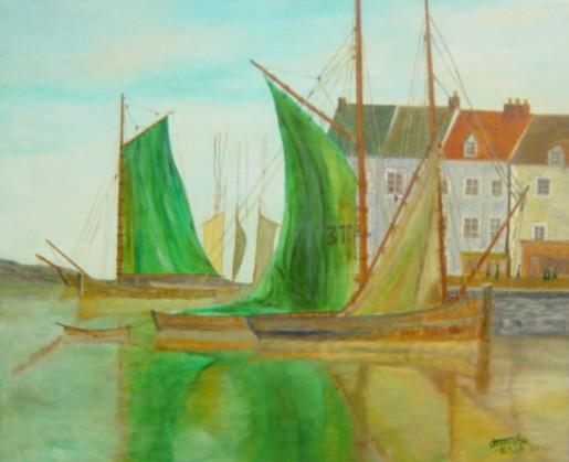 TABLEAU PEINTURE - voilier au port
