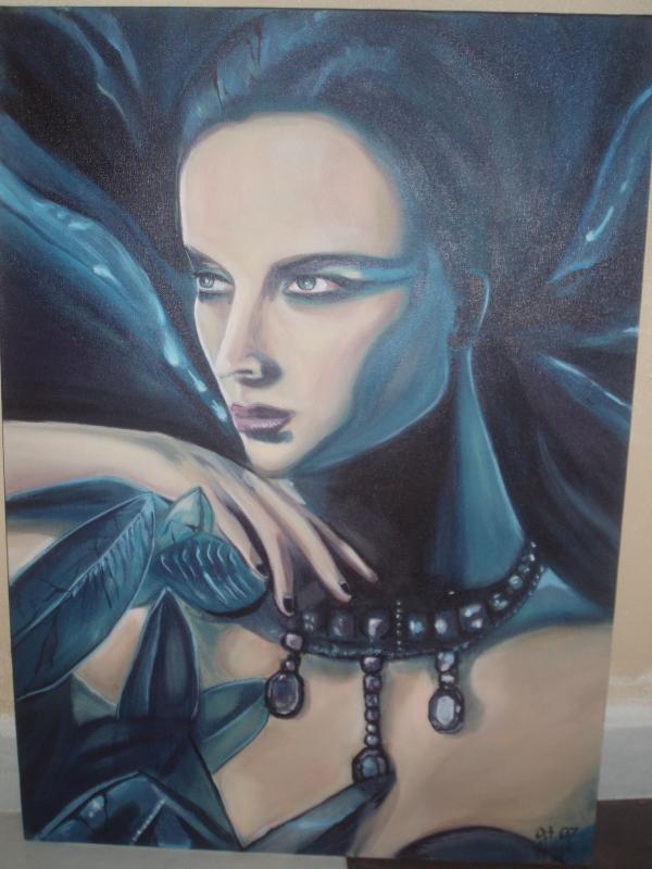 TABLEAU PEINTURE femme bijoux rêveuse bleu - Aphrosia