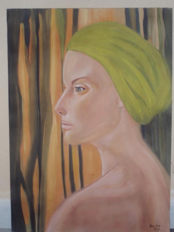 TABLEAU PEINTURE femme bandeau bain portrait - Aimée