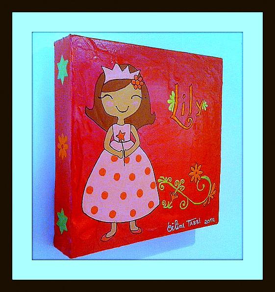 Tableau Peinture Art princesse framboise chambre petite ...