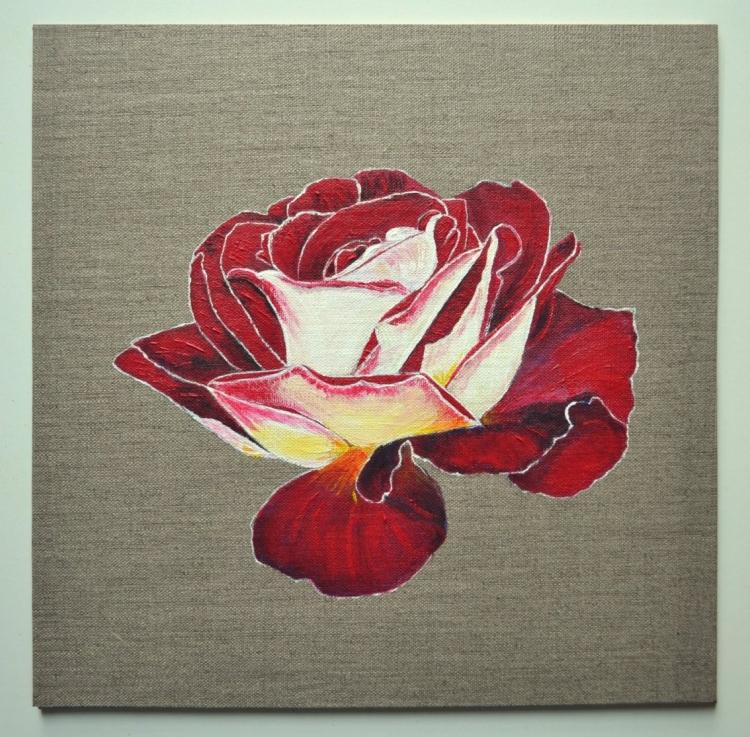 Tableau Peinture Art Rose Rouge Jaune Acrylique Fleurs Acrylique