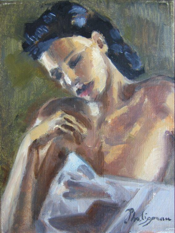 TABLEAU PEINTURE personnage impressionisme intimiste femme - tout ne tient qu'à un fil