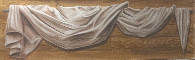 TABLEAU PEINTURE drapé voilage tête de lit bois - Drapé