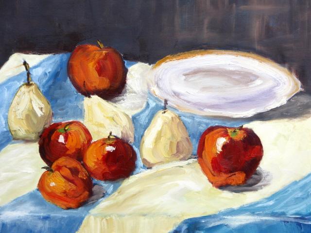 TABLEAU PEINTURE fruits assiette coupe liberté - Assiette et fruits