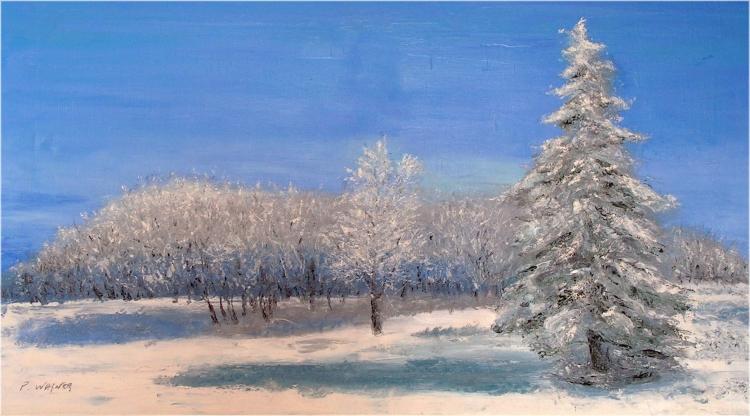 TABLEAU PEINTURE - Sapin en hiver