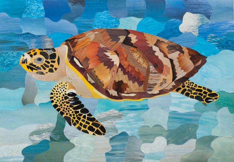 TABLEAU PEINTURE tortue animaux tableau marqueterie - Marqueterie papier