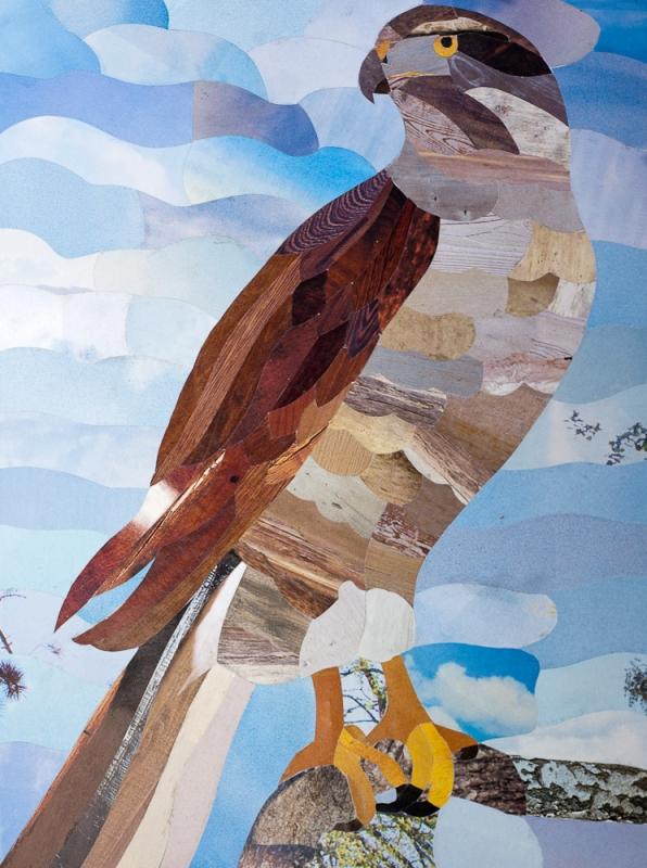 TABLEAU PEINTURE aigle animaux tableau marqueterie - Marqueterie papier