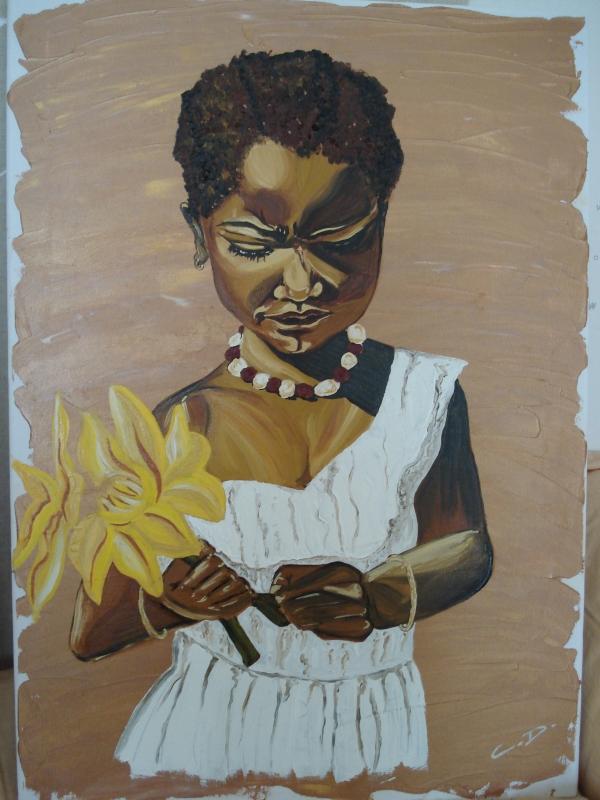 TABLEAU PEINTURE - Petite fille à la fleur