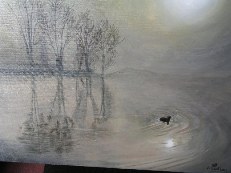 TABLEAU PEINTURE un canard sur l'étang - Brumes sur l'étang