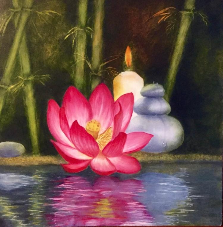 Tableau Peinture Art lotus zen yoga bougie