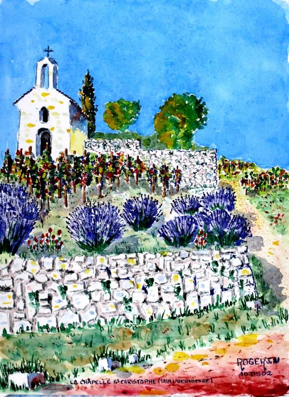 TABLEAU PEINTURE - Chapelle St Christophe à Tain l'Hermitage .
